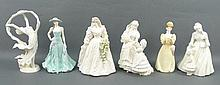 A group of Royal Worcester porcelain figures; comprising; The Wedding Day, Mothering Sunday, Serena,