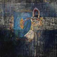 A large blue abstract, oil on board, 183 by 183cm.