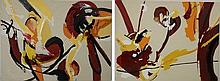 A pair of orange and black abstract canvases, 160 by 208cm. (2)