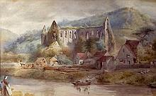 English School (late 19th century): Tintern Abbey, watercolour, bears indistinct signature lower rig