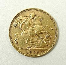An Edward VII gold sovereign, 1905.