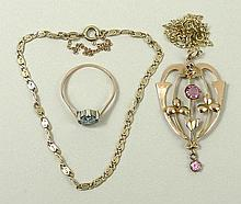 An Edwardian 9ct rose gold and pink tourmaline set pendant, on a 9ct gold chain, a 9ct gold fancy li