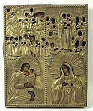A 19th century Russian icon, painted on a gesso panel, the four quarters illustrating the life of Ch