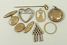 An 18ct gold ring, impressed 'Fidelity' to interior, 1.5g, size N, a 9ct gold locket, a pair of 9ct