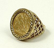 A 9ct gold ring set with a Victorian half sovereign, 1898, size P, 10.4g.