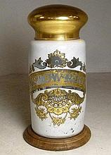 An apothecary's glass arrowroot jar with internal gilt writing and decoration, on a wooden base, 34