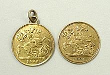 A Victorian gold half sovereign 1901, and an Edward VII half sovereign 1908, with ring attachment.