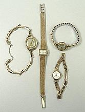 A Rotary 9ct gold cased lady's wristwatch, rectangular dial, on a 9ct gold textured strap, an Accuri