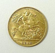 A George V gold half sovereign 1913.