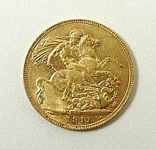 A George V gold sovereign 1911.