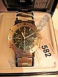 Pulsar gentleman's watch, Chronograph 100m, green face, metallic strap, no.990427, with box and instruction booklet