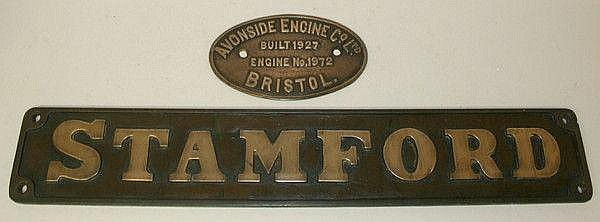 Railwayana: two brass name plates for an Avonside
