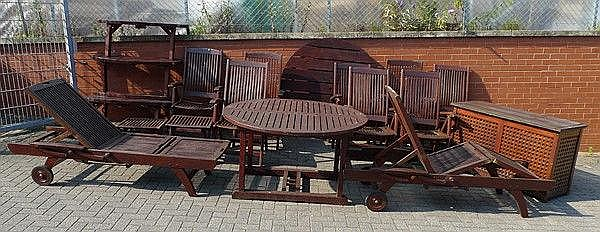 A collection of teak varnished garden furniture