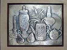 Silver relief work, still life, signed