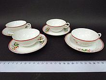 Four mocha cups, with porcelain saucer, by Koznizov,