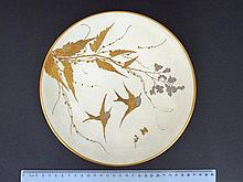 Porcelain plate, with an original Paul Blot hand painted swallow image