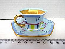 Mocha cup with saucer, hand painted,