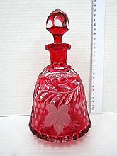 Cut red Bohemian glass decanter