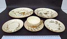 Six porcelain itemswith original hand painted bird and plant images by Paul Blot,