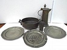 Six pewter artifacts