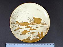 Porcelain plate, with an original Paul Blot hand painted fish image,