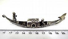 Venetian gondola shaped silver miniature