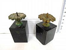 Pair of miniature candlesticks, onyx base, brass