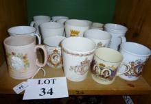 A collection of sixteen Royal Memorabilia Coronation mugs est: £30-£50 (B12)
