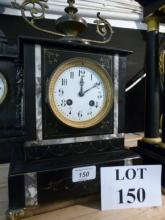A 19c marble mantel clock the movement stamped 'Marti et Cie' and with full striking  movement (key with auctioneer) est: £100-£150 (G1)