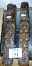 A pair of carved oak figural and floral terms in the 18th century manner est: £50-£80 (K3)
