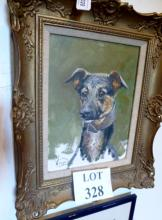 M Coward - A framed oil on board study of the artist's dog signed lower left est: £130-£180
