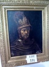 After Rembrandt - A framed oil on board signed R Chapman 91 (43 x 32 cm approx) est: £50-£100