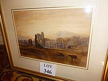 Samuel Bough RSA (1822-1878) - A framed and glazed watercolour highlighted with gum Arabic ruin abbey with cattle in foreground signed mono SB lower left (28 x 41 cm approx) est: £200-£400