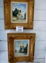 Leon Dunant 20c - A pair of framed oil on board Dutch street scene signed lower right (24 x 19 cm approx) est: £200-£400