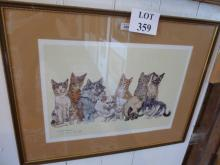 Kay Nixon - A framed and glazed lithograph signed by the artist 'A Feline Extravaganza' est: £60-£80