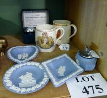 A collection of Wedgwood Jasperware; pair of Worcester egg coddlers; and two coronation items est: £25-£45 (F2)