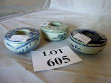 Three Chinese blue and white ink or brush pots est: £80-£120 (N3)