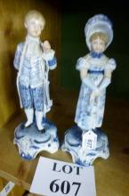A pair of decorative blue and white German figurines est: £30-£50 (F8)