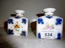 A pair of Paris porcelain posy vases or perfume bottles (lacking stoppers) est: £25-£45 (N1)