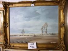 A framed oil on board 'Autumn Fields' country landscape scene signed John Snelling lower right est: £80-£120