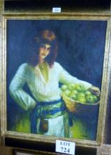A framed 20c oil on board portrait study of a continental fruit seller signed indistinctly lower right est: £50-£80