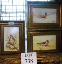 A set of three framed paintings on porcelain portraying various birds to include pheasants each signed Leighton est: £80-£120