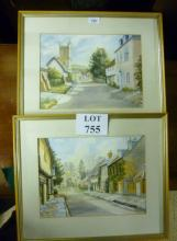 A pair of framed and glazed watercolour street scenes both of 'Abbey Street, Cerne Abbas' each signed in pencil Joan Ralph 1987 est: £50-£80