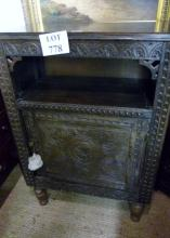 A 19c oak cupboard with open shelf over a carved cupboard est: £40-£70