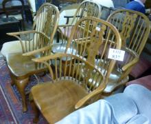 A set of four late 20c yew wood Windsor half hoop armchairs est: £200-£400