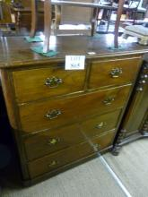 A Victorian mahogany chest of two over three long drawers with brass handles est: £80-£120