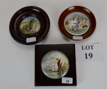 Three framed Prattware Pot lids with nautical themes including ' The Ning Po River' and 'Landing the Fare Pegwell Bay' (3) est: £30-£50 (J)