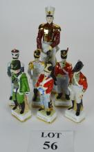 A set of six porcelain soldiers in historical uniforms to include Dragoon Guard and Grenadier Company; together with another larger figurine 'Eight Dragoons' (7) est: £30-£50 (O3)