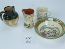 A Dickensware bowl 'Mr Macwaber'' a Farmer's Arms mug; a Torquay-ware jug and a Doulton Lambeth marketing jug for John Dewar & Sons Distillers' (chip) (4) est: £30-£50 (B11)