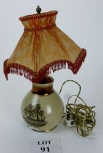 A Grays Pottery nautical lamp base with printed scene 'SHIP CAROLINE' and verse to verso est: £30-£50 (G1)